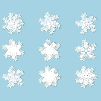 Flocos de neve de papel de natal com sombra