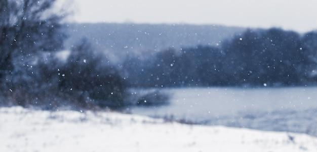 Flocos de neve em um fundo desfocado do rio e das árvores