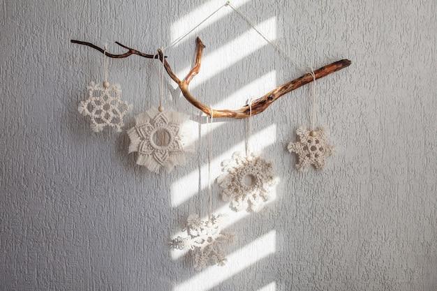 Flocos de neve macrame de natal decoração para casa e café férias de inverno e ano novo