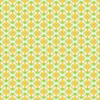 Flor amarela ilustrada sem costura em moldura completa com padrões de folhas verdes