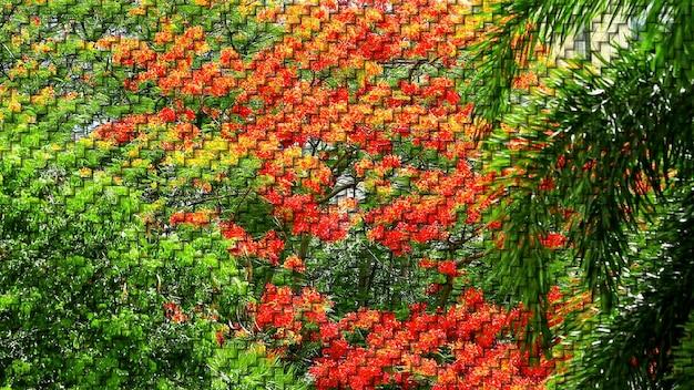 Flor amarela vermelha no jardim verde pintura digital na textura de duas etapas de bambu de tecelagem