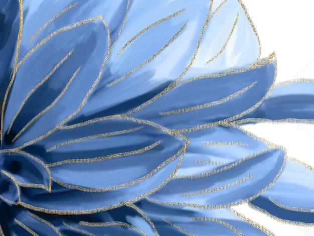 Flor azul artesanal com pintura abstrata de traço dourado