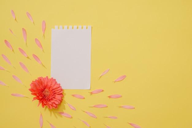 Flor da primavera e folha de papel em branco