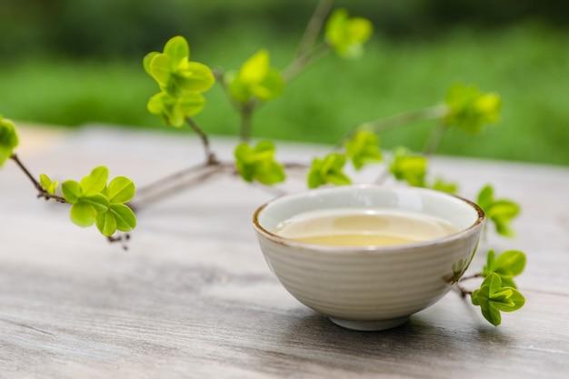 Flor de cerejeira e jogo de chá japonês