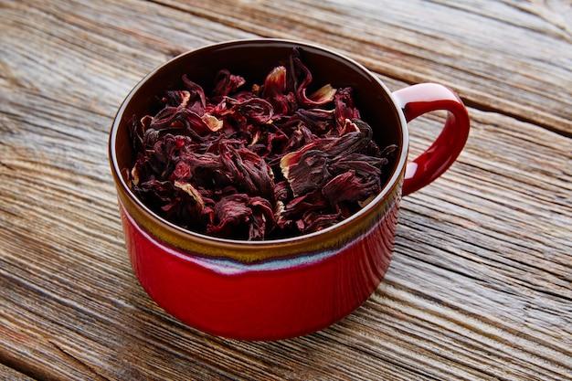 Flor de jamaica para chá gelado de ervas de hibisco