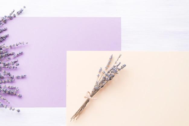 Flor de lavanda sobre o papel roxo e pêssego no pano de fundo