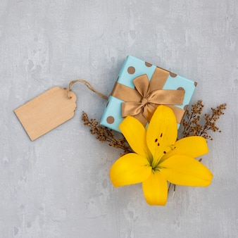 Flor de lírio com presente embrulhado bonito