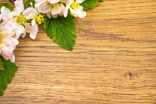 Flor de maçã em fundo de madeira. copie o espaço.