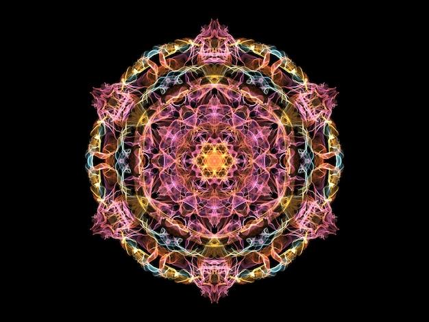 Flor de mandala abstrata rosa, amarela e azul chama