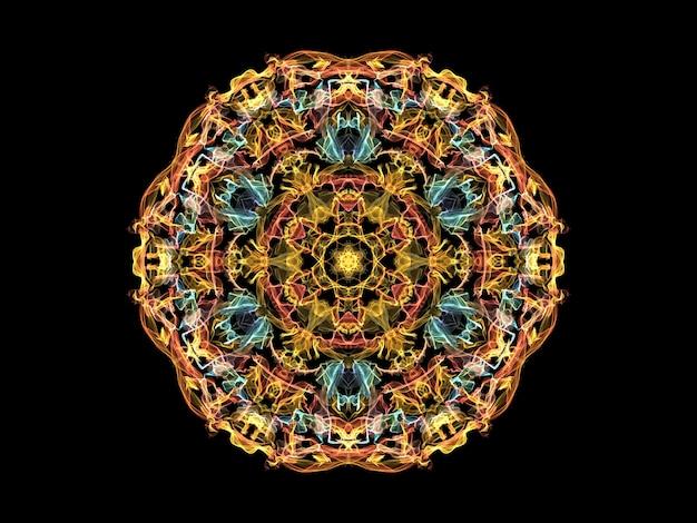 Flor de mandala de chama abstrato amarelo, laranja e azul