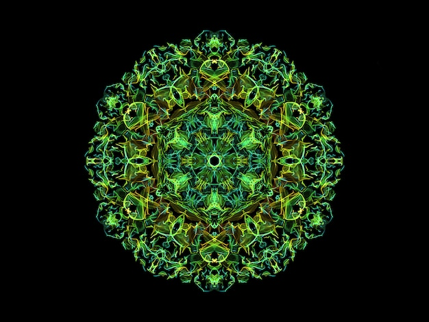 Flor de mandala de chama abstrato verde e amarelo, ornamental padrão redondo floral