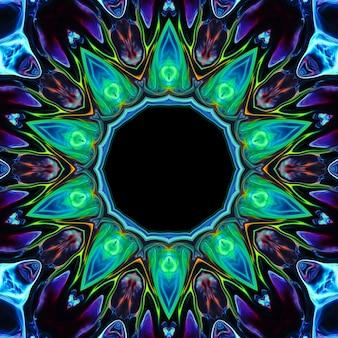 Flor de néon colorida abstrata em um fundo preto. o elemento para o design é uma flor luminosa