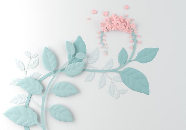 Flor de papel no fundo branco, projeto de papel da arte.