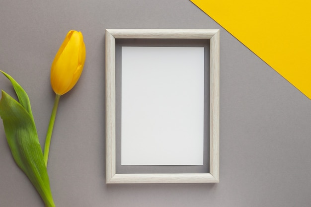 Flor de tulipa amarela e papel vazio com moldura de madeira na mesa geométrica amarela e cinza