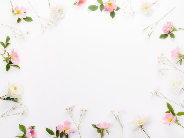 Flor festiva rosa e composição de rosa selvagem branca no fundo branco. vista superior aérea, configuração plana. copie o espaço. aniversário, mãe, dia dos namorados, mulheres, conceito do dia do casamento.