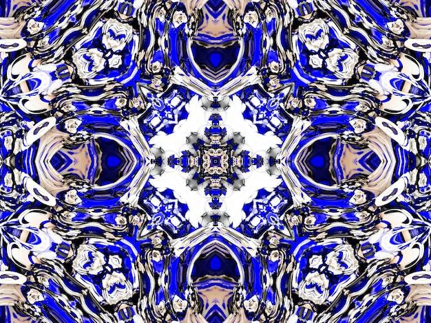 Flor gzhel deco redondo mandala design elementos decorativos índigo, linha azul e área branca para colorir. sombra ao redor da mandala e cor de fundo. ilustração de ioga árabe, islâmica, indiana, chinesa.