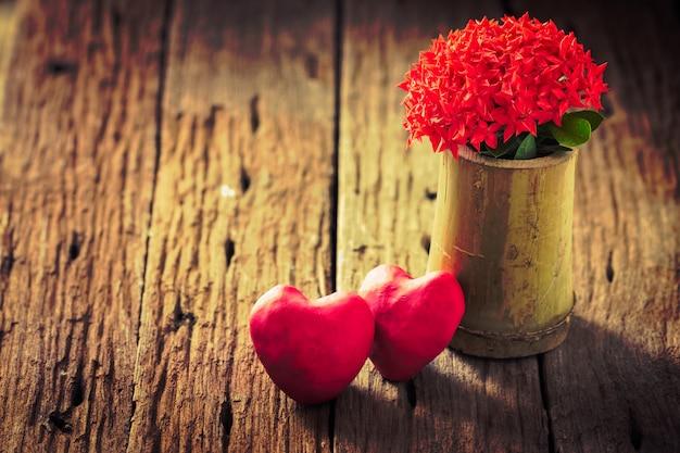 Flor ixora vermelha com coração