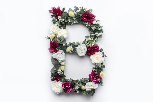 Flor letra b monograma floral foto gratuita