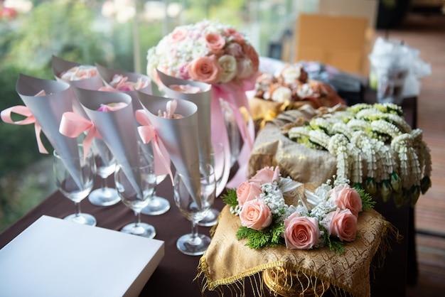 Flor na festa da cerimônia de casamento