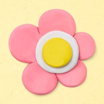 Flor rosa artesanal de argila fofa natureza artesanal arte gráfica criativa