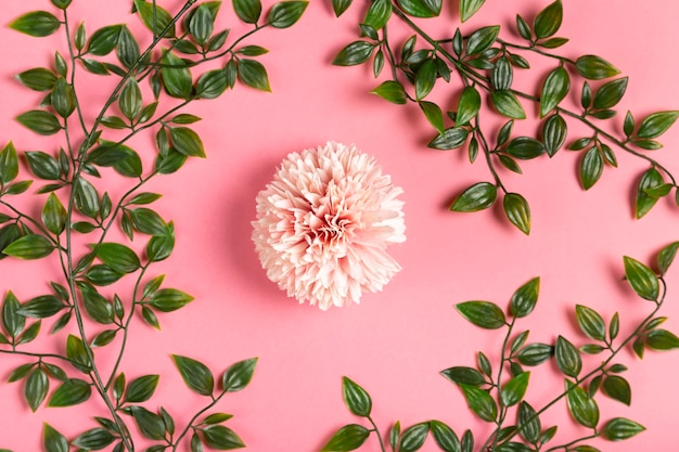Flor rosa com moldura de folhas