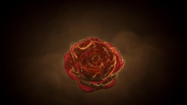 Flor rosa em chamas sobre fundo preto. conceito de sentimento de amor. renderização 3d