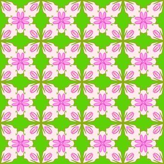 Flor rosa ilustrada sem costura em quadro completo com padrões de folhas verdes