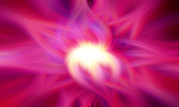 Flor rosa neon abstrata raios brilhantes fundo rosa psicodélico