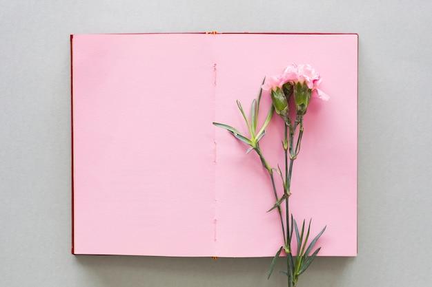 Flor rosa no notebook na mesa