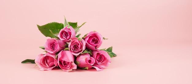 Flor rosa rosa com espaço de cópia de texto.