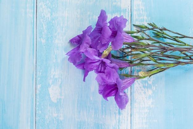 Flor roxa sobre fundo azul de madeira rústica