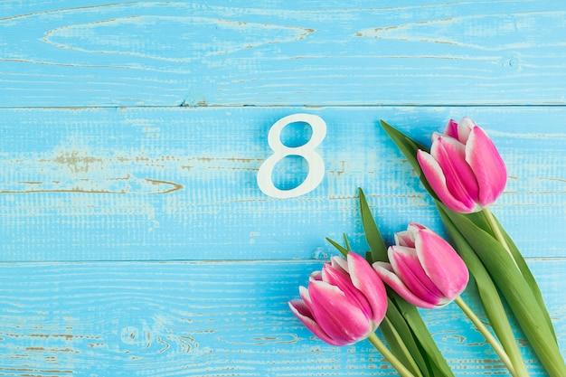 Flor tulipa rosa e 8º número no fundo da mesa de madeira azul com espaço de cópia de texto. conceito de dia internacional do amor, igualdade e mulheres
