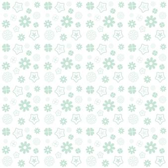 Flor verde sem costura padrão no fundo branco