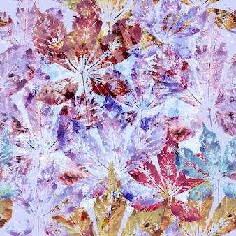 Floral sem costura de fundo de folhas de castanheiro em aquarela