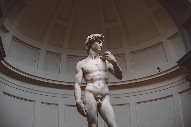 Florença, itália - 24 de junho de 2018: o close up da escultura renascentista é david de michelangelo, criado entre 1501 e 1504 na academia de belas artes de florença (accademia di belle arti di firenze)