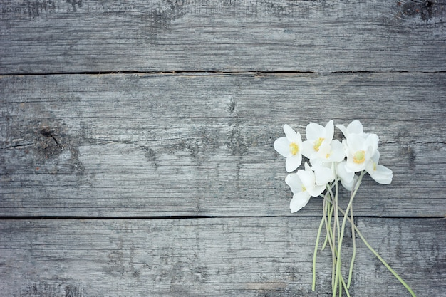 Flores brancas em fundo de madeira velha. flores do jardim no fundo da mesa de madeira.