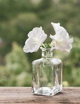 Flores brancas em uma garrafa de vidro sobre uma mesa de madeira.