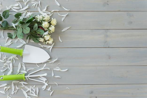 Flores brancas, pequena espátula e ancinho na mesa de madeira cinza