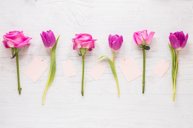 Flores brilhantes com pequenos papéis na mesa