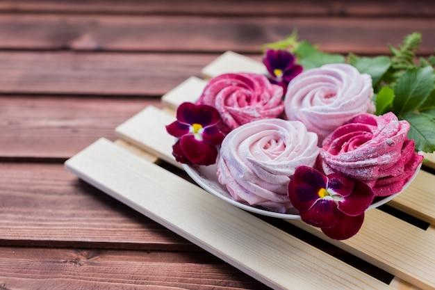 Flores caseiras de marshmallow