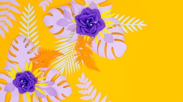 Flores coloridas e folhas de papel