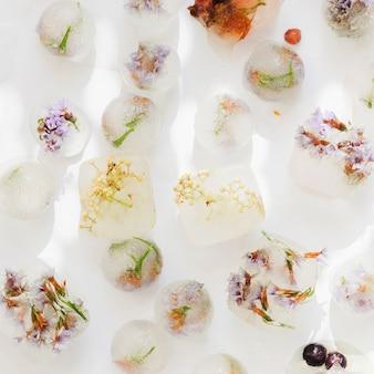 Flores congeladas em cubos de gelo