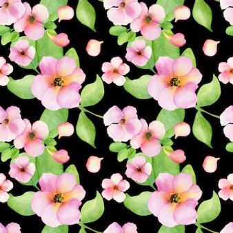 Flores cor de rosa em preto.