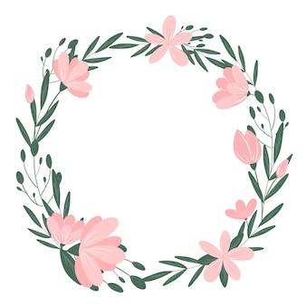 Flores cor de rosa em volta da grinalda isolada no fundo branco. quadro botânico bonito. elemento de design de grinalda de flores e folhas para casamento, festa, convite, cartão, espaço de cópia.