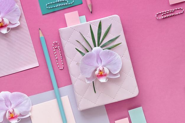 Flores da orquídea na parede geométrica com cópia-espaço, parede de papel foral em rosa e hortelã