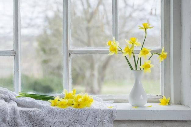 Flores da primavera amarelo no peitoril da janela