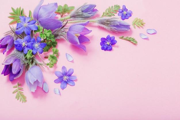 Flores da primavera linda em fundo rosa