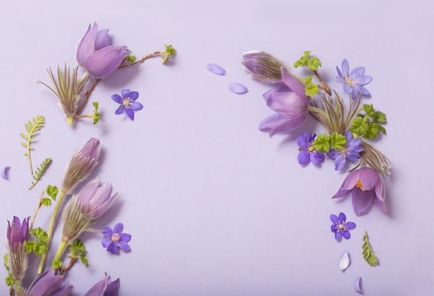 Flores da primavera linda em fundo roxo