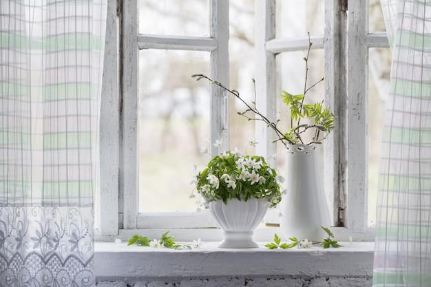 Flores da primavera no peitoril da janela