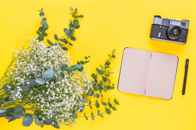 Flores da respiração do bebê; diário; caneta e vintage câmera no pano de fundo amarelo